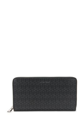 Leather wallet with geometric pattern: 'Signature H_S zip tr', Patterned