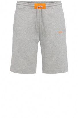 Regular-fit shorts in stretch cotton blend: 'Headlo 1', Light Grey