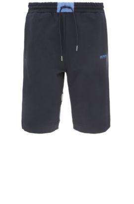 Regular-fit shorts in stretch cotton blend: 'Headlo 1', Dark Blue