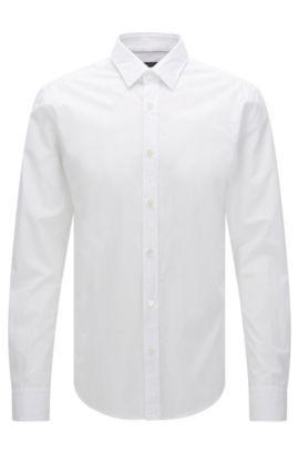 Chemise Slim Fit unie, en pur coton: «Ronni», Blanc