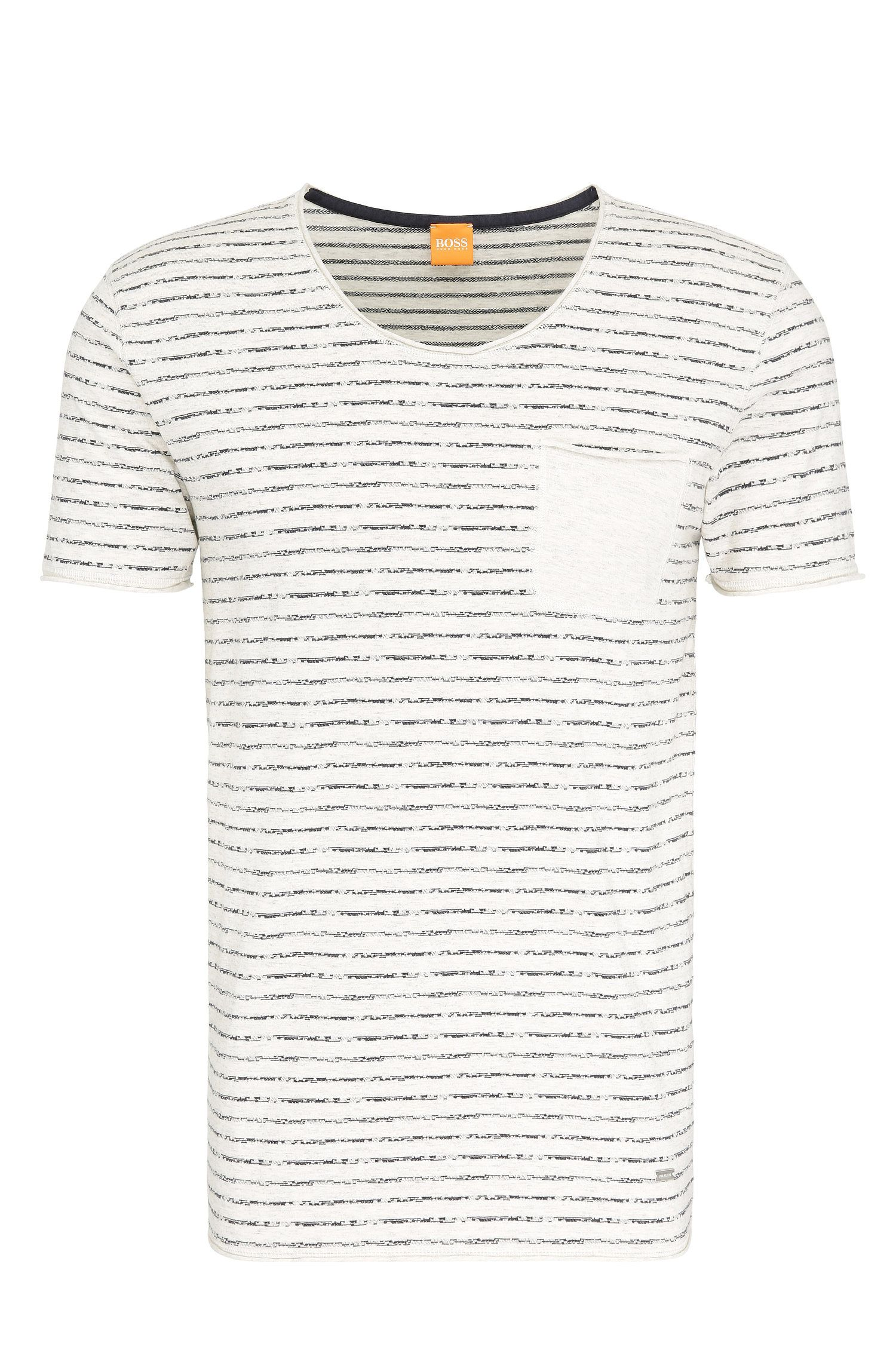 Slim-fit T-shirt van katoen met streepdessin: 'Toa'
