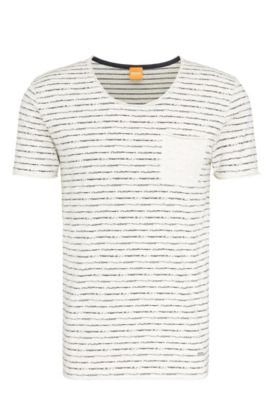 Striped slim-fit t-shirt in cotton: 'Toa', Natural
