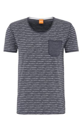 Striped slim-fit t-shirt in cotton: 'Toa', Dark Blue