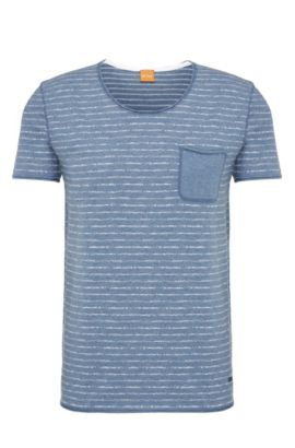 Striped slim-fit t-shirt in cotton: 'Toa', Open Blue
