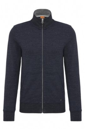 Regular-fit cotton sweat jacket: 'Zpandau', Dark Blue