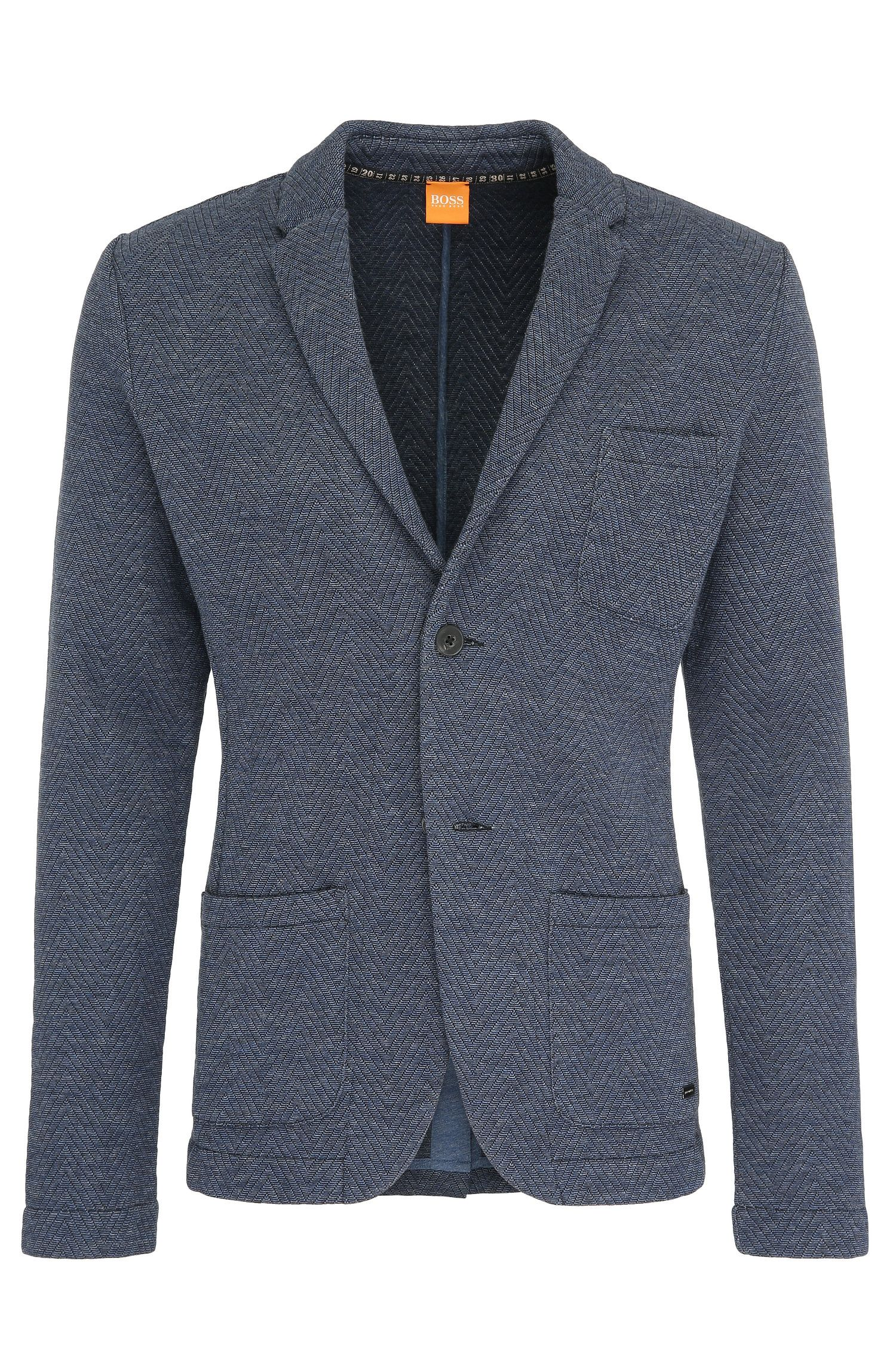 Mottled slim-fit jacket in textured cotton blend: 'Ward'