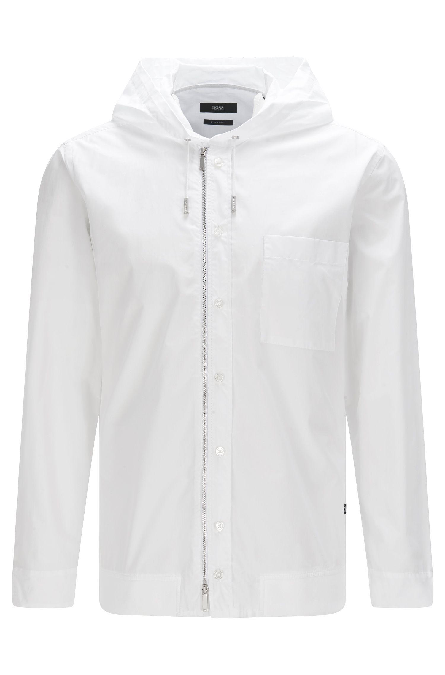 Regular-fit overhemd van katoen met capuchon en ritssluiting: 'Lenard'