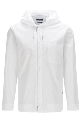 Regular-fit hooded shirt in cotton with zip: 'Lenard', White