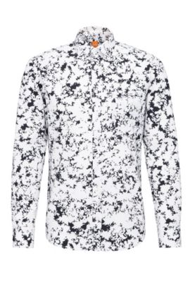 Camisa estampada regular fit en algodón: 'Classy', Blanco