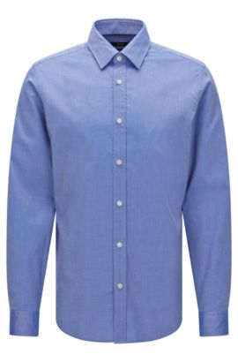 Finely patterned regular-fit shirt in cotton: 'Lukas_32', Blue