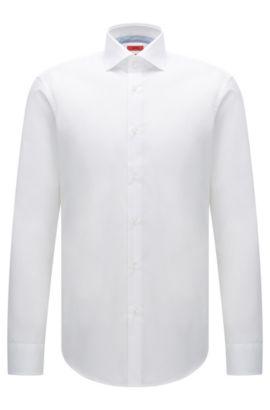 Regular-Fit Hemd aus bügelleichter Baumwolle: 'C-Eracli', Weiß