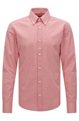Chemise Slim Fit à carreaux en coton mélangé à du lyocell: «Rubens_34», Rouge