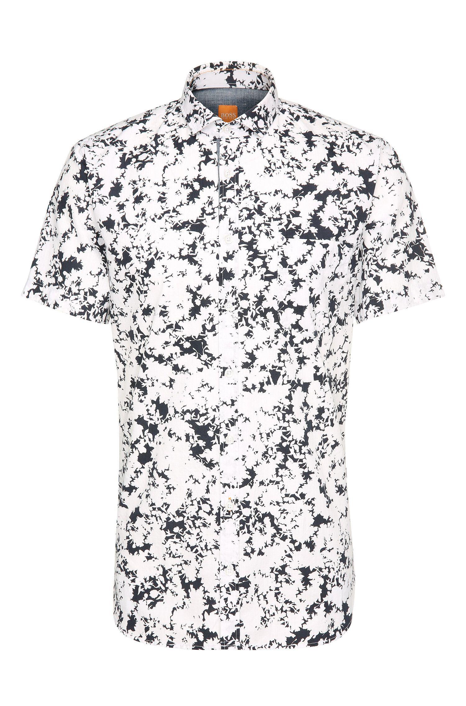 Slim-fit overhemd van katoen met korte mouwen en bloemendessin: 'Cattitude-short'