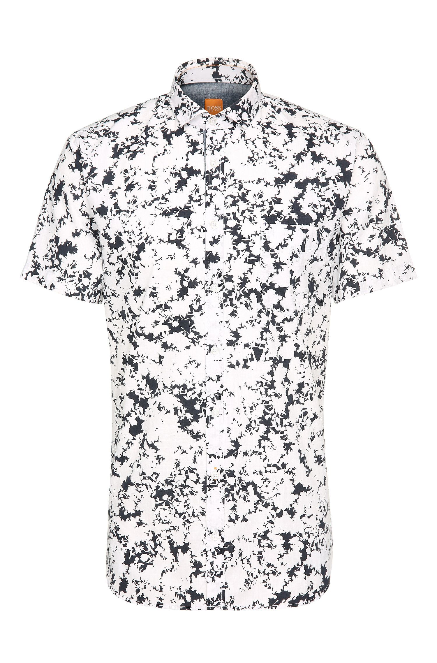 Slim-fit cotton short-sleeved shirt with floral pattern: 'Cattitude-short'