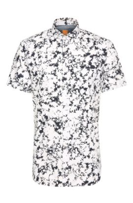 Slim-fit cotton short-sleeved shirt with floral pattern: 'Cattitude-short', White