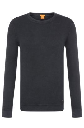 Slim-fit sweater in cotton: 'Wings', Dark Blue