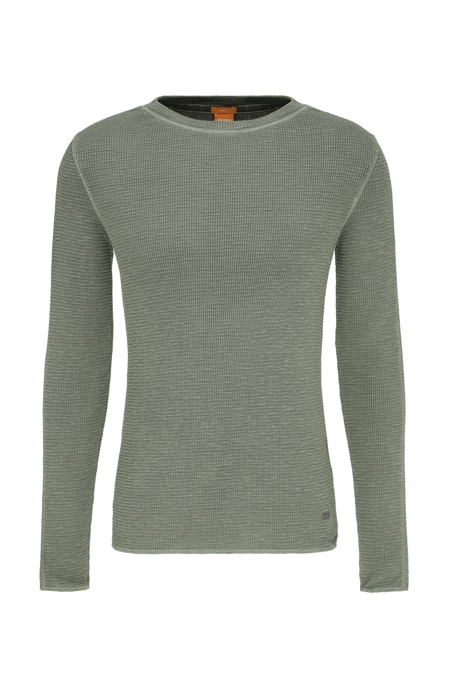 Gestructureerde slim-fit trui van katoen: 'Werk'