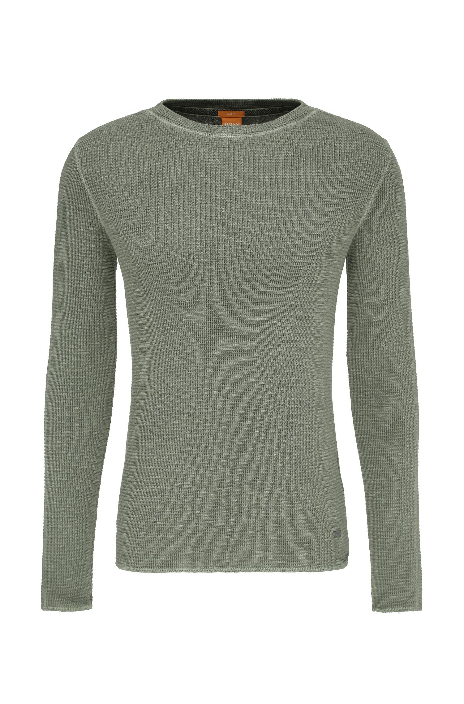 Textured slim-fit sweater in cotton: 'Werk'
