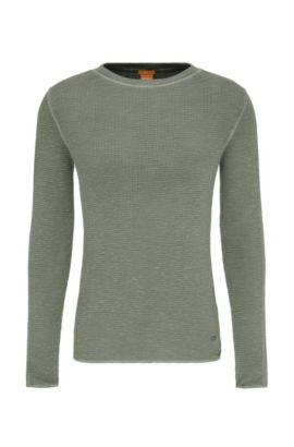 Gestructureerde slim-fit trui van katoen: 'Werk', Donkergroen