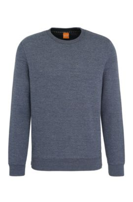 Sweatshirt in textured cotton blend: 'Wicious', Black