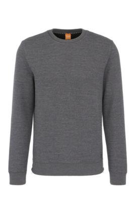 Sweatshirt van een gestructureerde katoenmix: 'Wicious', Antraciet