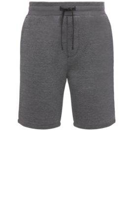 Regular-Fit Shorts aus Baumwoll-Mix mit Fischgrätmuster: ´Side`, Anthrazit