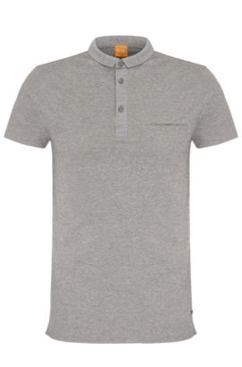 Polo Regular Fit chiné en coton : « Patcherman 1 », Gris chiné