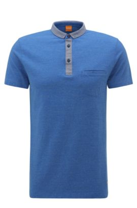 Polo Regular Fit chiné en coton : « Patcherman 1 », Bleu