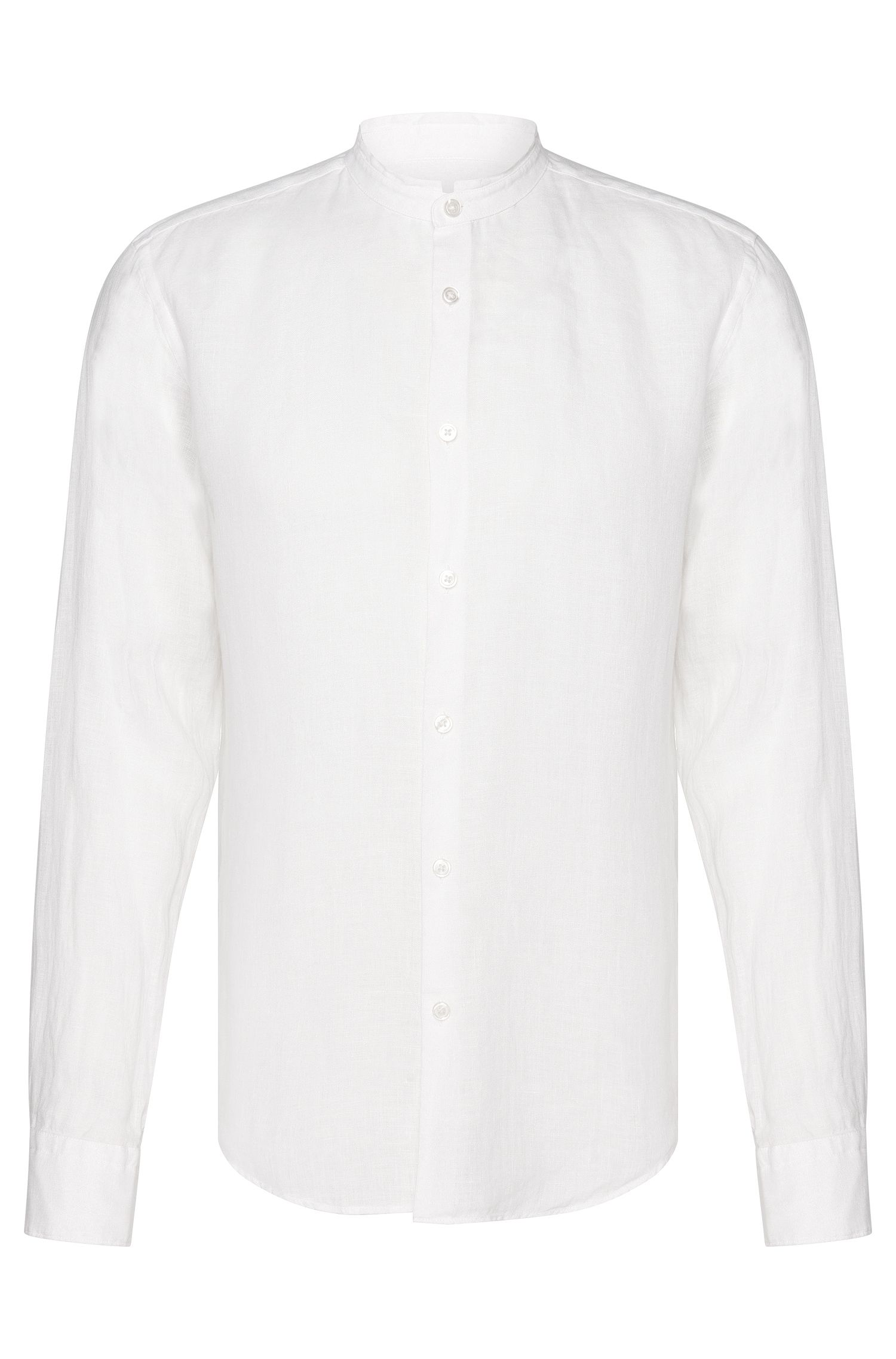 Slim-fit shirt in linen with short band collar: 'Rab_F'