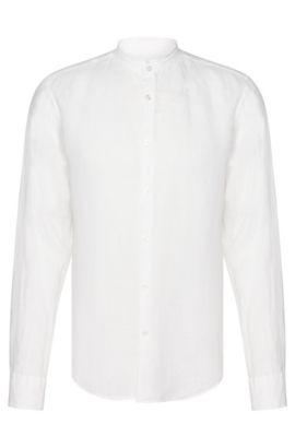 Camisa slim fit en lino con cuello mao bajo: 'Rab_F', Blanco