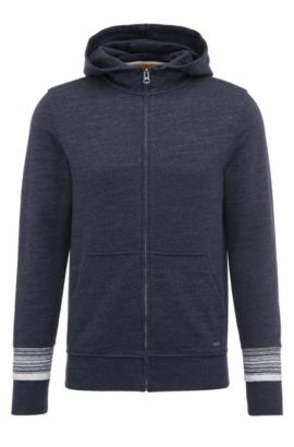 Mottled hooded cardigan in cotton: 'Zappa', Dark Blue
