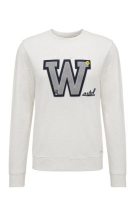 Regular-fit sweatshirt in cotton with front patch: 'Wariety', Natural