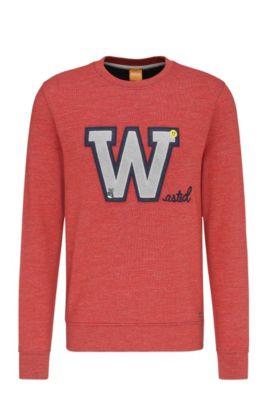 Sudadera regular fit en algodón con parche delantero: 'Wariety', Rojo