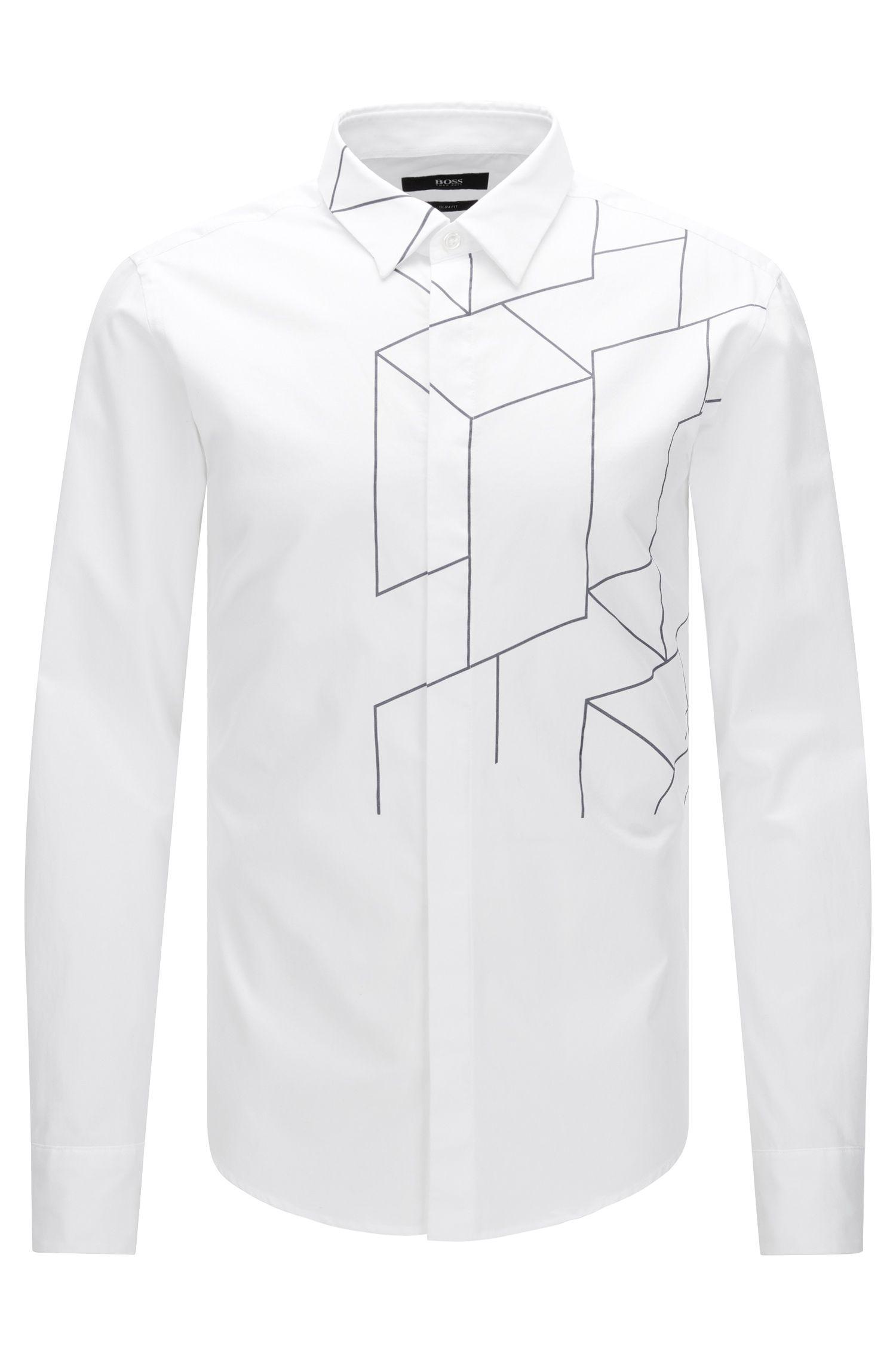 Slim-fit overhemd van katoen met lijnendessin: 'Reid_FH'