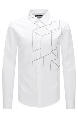 Slim-fit shirt in cotton with linear pattern: 'Reid_FH', White