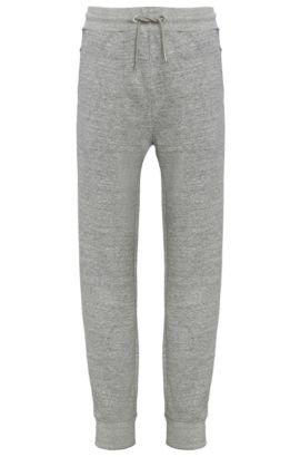 Regular-fit tracksuit bottoms in cotton blend with elastane: 'Shines', Light Grey