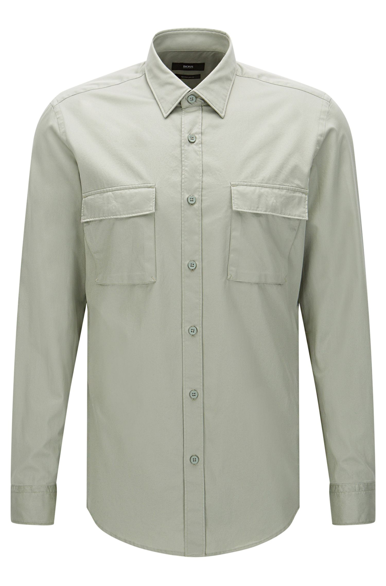 Regular-fit shirt in cotton with patch chest pockets: 'Lorin'