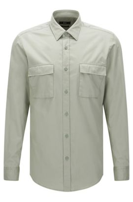 Regular-fit shirt in cotton with patch chest pockets: 'Lorin', Green