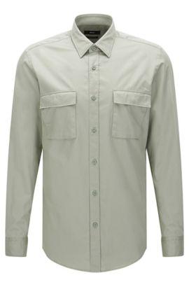 Regular-Fit Hemd aus Baumwolle mit aufgesetzten Brusttaschen: 'Lorin', Grün