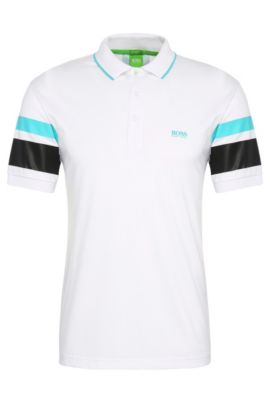 Polo regular fit en mezcla de algodón: 'Paddy 5', Blanco