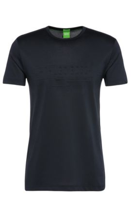 T-shirt regular fit in misto cotone: 'Tee 9', Blu scuro