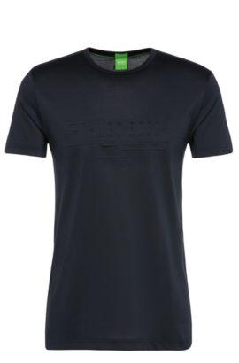 Regular-fit cotton blend t-shirt: 'Tee 9', Dark Blue
