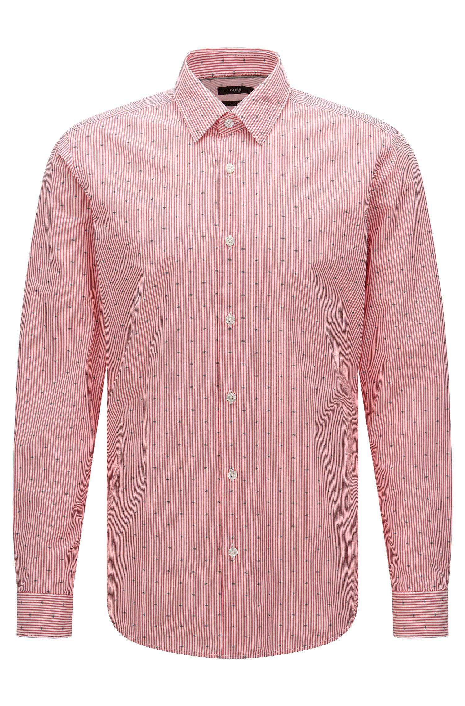 Gestreiftes Regular-Fit Hemd aus Baumwolle: 'Lukas_32F'
