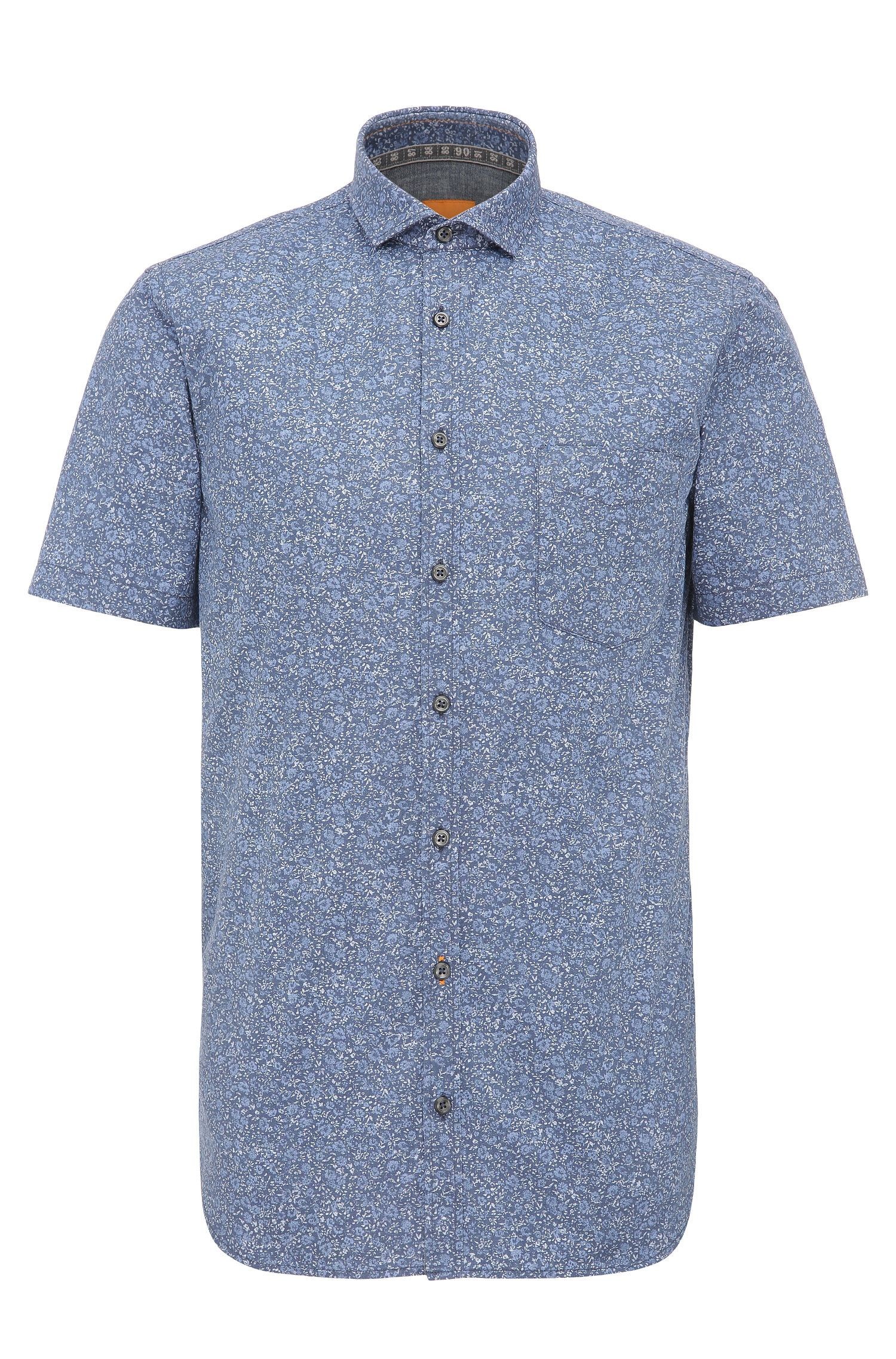 Finely patterned slim-fit cotton shirt with short sleeves: 'Cattitude-short'