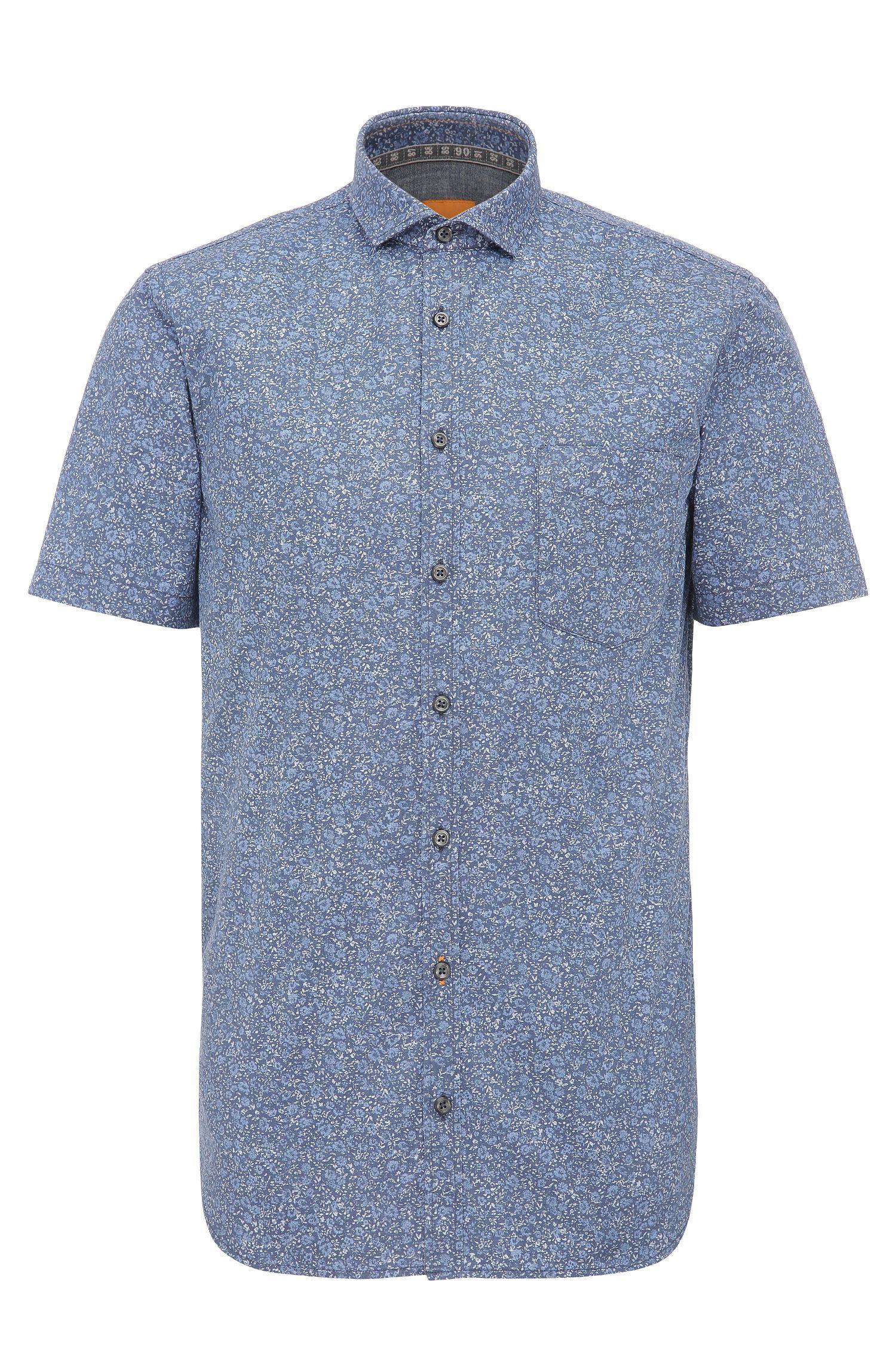 Chemise en coton Slim Fit à motif fin, à manches courtes: «Cattitude-short»