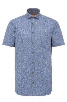 Finely patterned slim-fit cotton shirt with short sleeves: 'Cattitude-short', Dark Blue