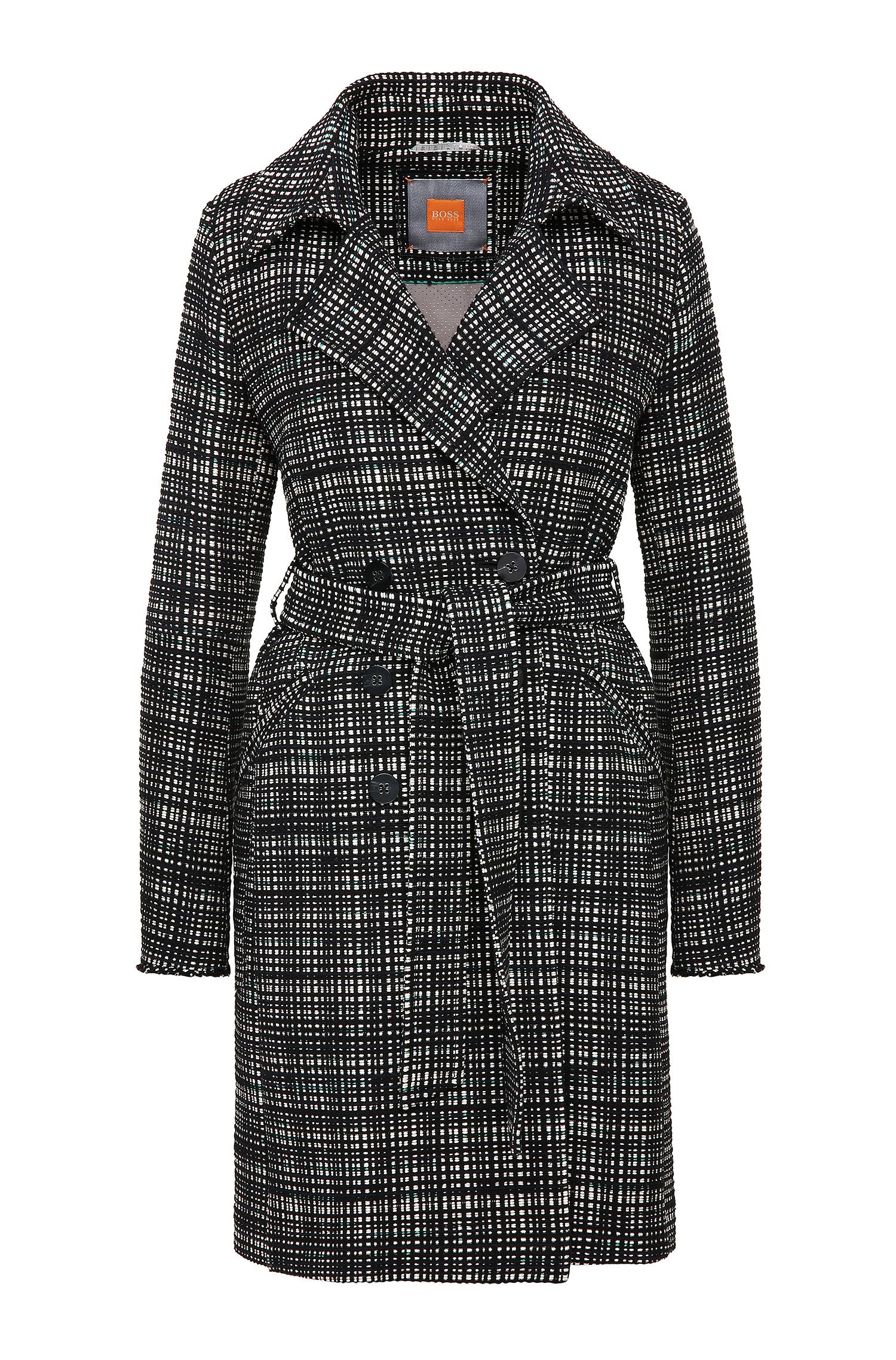 Tweed-look coat in cotton blend: 'Otrenchelle'