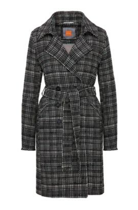 Tweed-look coat in cotton blend: 'Otrenchelle', Patterned