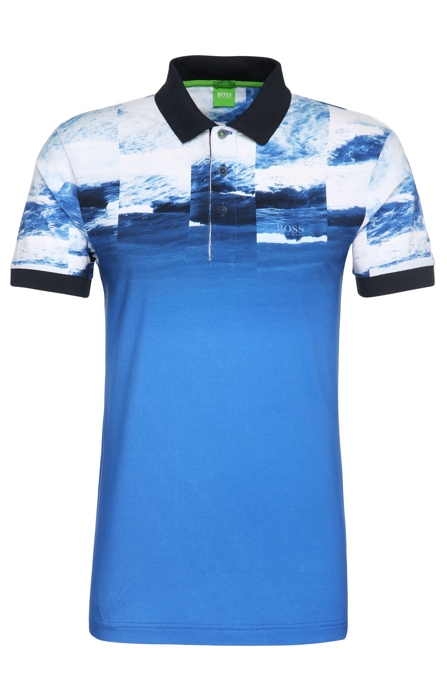 Slim-fit printed polo shirt in stretchy cotton: 'Paule 9'