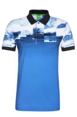 Slim-fit printed polo shirt in stretchy cotton: 'Paule 9', Blue
